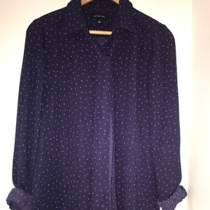 Navy polka dot LAND'S END blouse